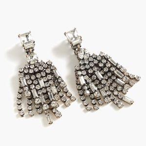 New JCREW Double Crystal Drop Earrings